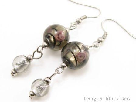 ER076 Lampwork Glass Smoky Round Dangle Silver Earrings