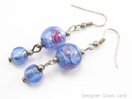 ER077 Lampwork Glass Blue Round Dangle Silver Earrings