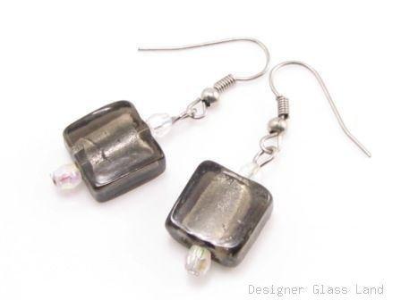 ER073 Lampwork Glass Smoky Grid Dangle Silver Earrings