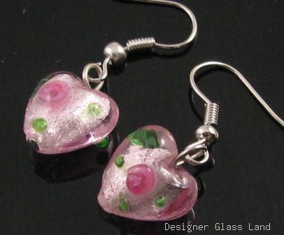 ER078 Lampwork Glass Pink Heart Dangle Silver Earrings