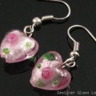 ER078 Lampwork Glass Pink Heart Dangle Silver Earrings