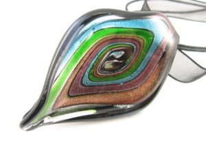 P975 Lampwork Glass Twist Choker Pendant Necklace Best for Gift