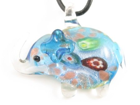 P334 Lampwork Glass Elephant Pendant Necklace
