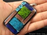 "DG002 HUGE DICHROIC GLASS GRID PENDANT 2.5"""