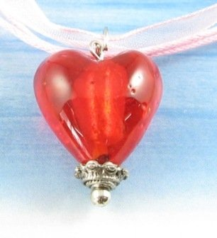 P1227 LAMPWORK GLASS RED HEART SILVER PENDANT NECKLACE