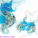 PE040 RARE LAMPWORK GLASS SEAHORSE PENDANT EARRINGS SET