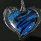 P1018 LAMPWORK GLASS SILVER FOIL BLUE HEART PENDANT