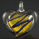 P1019 LAMPWORK GLASS SILVER FOIL GOLDEN HEART PENDANT