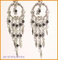 AE519F VICTORIAN STYLE BLACK CRYSTAL DANGLE EARRINGS 3""