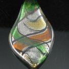 P1021F LAMPWORK GLASS GREEN SILVER FOIL LEAF PENDANT