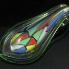 P1027 LAMPWORK GLASS GREEN COLORFUL MOSAIC PENDANT