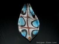P1039 LAMPWORK GLASS BLUE LEAF PENDANT