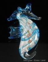 P1043 LAMPWORK GLASS BLUE SEAHORSE PENDANT