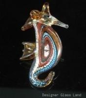 P1046 LAMPWORK GLASS SWIRL SEAHORSE PENDANT