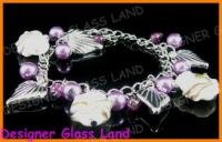 B444 MURANO STYLE LAMPWORK GLASS SILVER CHARM BRACELET