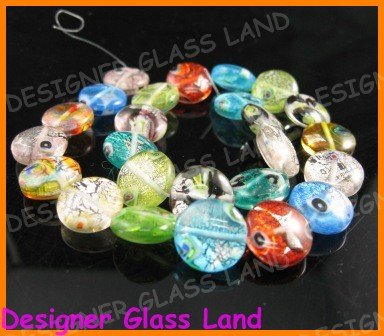 "GQ007 15"" - 16MM DICHROIC GLASS ROUND BEADS ITALIAN"