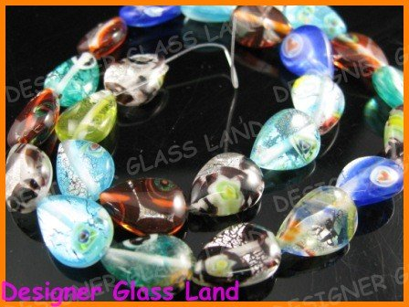 "GQ008 15"" - 13*18MM DICHROIC GLASS PEAR BEADS ITALIAN"