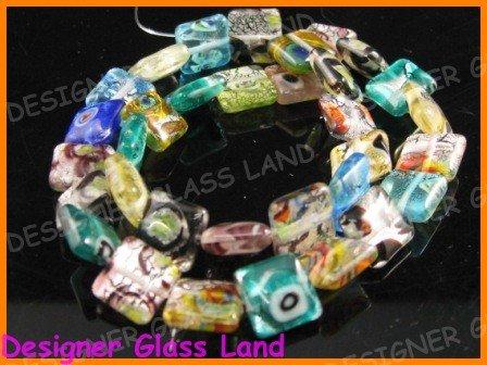 """GQ014 15"""" - 12MM DICHROIC GLASS GRID BEADS ITALIAN FOIL"""