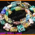 "GQ014 15"" - 12MM DICHROIC GLASS GRID BEADS ITALIAN FOIL"