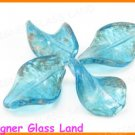 GQ025 LOT 10PCS*30MM LAMPWORK GLASS LEAF BEADS DIY