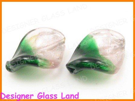 GQ029 LOT 20PCS*21MM LAMPWORK GLASS LEAF BEADS DIY