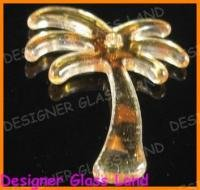 P1215 MURANO STYLE GOLDEN LAMPWORK GLASS PALM PENDANT