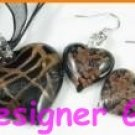 PE124F MURANO STYLE GLASS BK HEART PENDANT EARRINGS SET