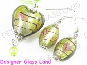PE123F LAMPWORK GLASS TOPAZ HEART PENDANT EARRINGS SET