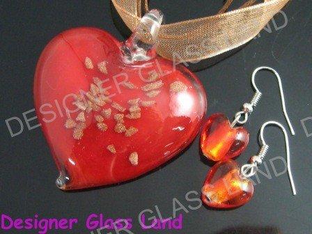 PE121F LAMPWORK GLASS RED HEART PENDANT EARRINGS SET