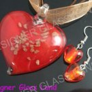 PE121F LAMPWORK GLASS RED HEART PENDANT EARRINGS SET