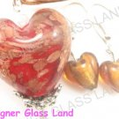 PE120F LAMPWORK GLASS RED HEART PENDANT EARRINGS SET