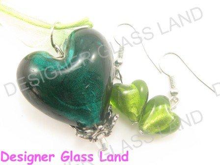 PE118F LAMPWORK GLASS GREEN HEART PENDANT EARRINGS SET