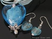 PE114 LAMPWORK GLASS BLUE HEART PENDANT EARRINGS SET
