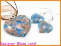 PE037F LAMPWORK GLASS BLUE HEART PENDANT EARRINGS SET