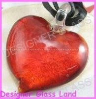 P673 LAMPWORK GLASS RED HEART PENDANT NECKLACE