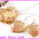 PE053F LAMPWORK GLASS GOLDEN HEART PENDANT EARRINGS SET