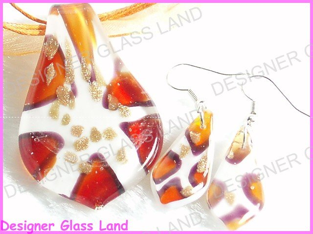 PE052F LAMPWORK GLASS ORANGE LEAF PENDANT EARRINGS SET