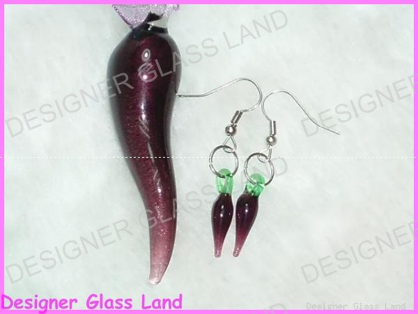 PE046F LAMPWORK GLASS PEPPER PENDANT EARRING SET GIFT