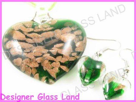 PE036F LAMPWORK GLASS GREEN HEART PENDANT EARRINGS SET