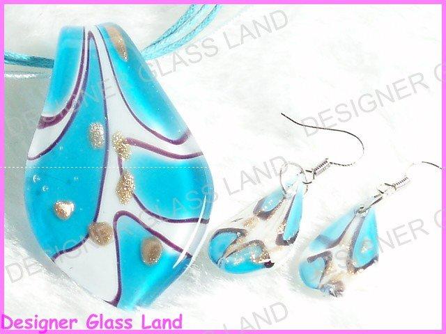 PE030F LAMPWORK GLASS BLUE LEAF PENDANT EARRINGS SET