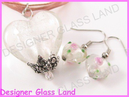 PE012F LAMPWORK GLASS WHITE HEART PENDANT EARRINGS SET
