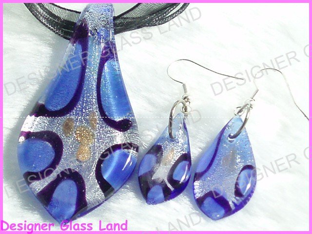 PE006F LAMPWORK GLASS BLUE LEAF PENDANT EARRINGS SET