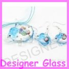 PE085 LAMPWORK GLASS BLUE ELEPHANT PENDANT EARRINGS SET