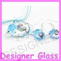 PE085 LAMPWORK GLASS BLUE ELEPHANT PENDANT EARRINGS SET