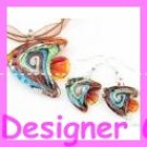 PE082 LAMPWORK GLASS ANGEL FISH PENDANT EARRINGS SET