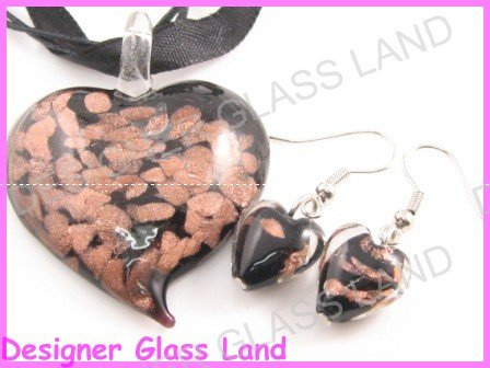 PE090 LAMPWORK GLASS BLACK HEART PENDANT EARRINGS SET