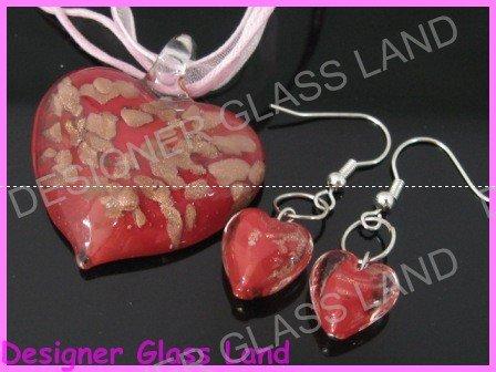 PE091 LAMPWORK GLASS RED HEART PENDANT EARRINGS SET