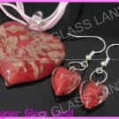 PE091 LAMPWORK GLASS RED HEART PENDANT EARRINGS SET