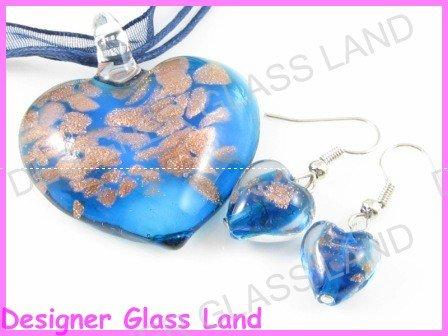 PE092 LAMPWORK GLASS NAVY HEART PENDANT EARRINGS SET