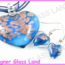 PE092 LAMPWORK GLASS NAVY HEART PENDANT EARRINGS SET